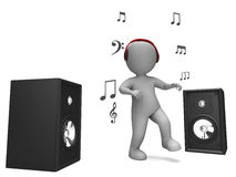 Listening Dancing Music Character Shows Loud Royalty Free Stock Image