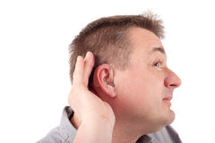 Listening deaf man Royalty Free Stock Photography