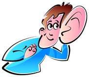 Listening ear. A man listening low sound clip art Royalty Free Stock Photos
