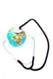Listening earth with stethoscope isolated Royalty Free Stock Image