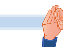 I can't Hear You. Listening with Hand to Ear Illustration Royalty Free Stock Image