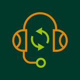 Listening icon, outline style. Listening icon. Outline illustration of listening vector icon for web Royalty Free Stock Image