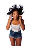 Listening jamming to music Stock Photo
