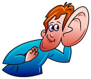 Listening. A man listening low sound clip art Stock Images