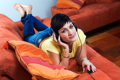 Listening music Stock Images