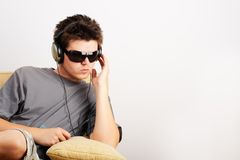 Listening Music Stock Photo