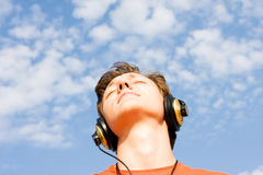 Listening for music Royalty Free Stock Photo