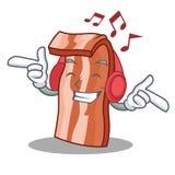 Listening music bacon mascot cartoon style Stock Photography