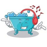 Listening music bathtub character cartoon style. Vector illustration Royalty Free Stock Image