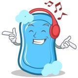 Listening music blue soap character cartoon. Vector illustration Stock Photo