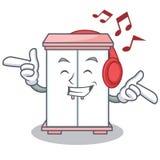 Listening music cabinet character cartoon style. Vector illustration Stock Photo
