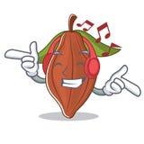 Listening music cacao bean mascot cartoon. Vector illustration Stock Photo
