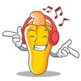 Listening music cashew mascot cartoon style. Vector illustration Stock Images