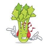 Listening music celery mascot cartoon style Stock Images