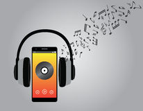 Listening music with cellphone smartphone and headphone song melody.  Stock Image
