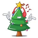 Listening music Christmas tree character cartoon. Vector illustration Royalty Free Stock Photo
