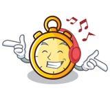 Listening music chronometer character cartoon style. Vector illustration Stock Photography