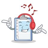 Listening music clipboard character cartoon style. Vector illustration Stock Images