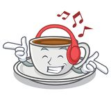 Listening music coffee character cartoon style. Vector illustration Royalty Free Stock Images