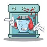 Listening music coffee maker character cartoon. Vector illustration Stock Photo