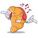 Listening music croissant character cartoon style. Vector illustartion Stock Image