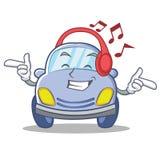 Listening music cute car character cartoon Royalty Free Stock Image