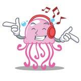Listening music cute jellyfish character cartoon. Vector illustration Royalty Free Stock Photography