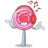 Listening music cute lollipop character cartoon. Vector illustration Royalty Free Stock Photo