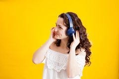 Listening a music and dancing stock images
