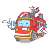 Listening music fire truck mascot cartoon. Vector illustration Stock Photo