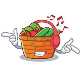 Listening music fruit basket character cartoon. Vector illustration Stock Photos
