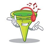 Listening music funnel character cartoon style Stock Images