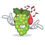Listening music green grapes mascot cartoon. Vector illustration Royalty Free Stock Photos