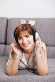 Listening music at home Stock Photography