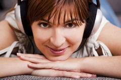 Listening music at home Royalty Free Stock Photo