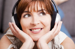 Listening music at home Royalty Free Stock Photos