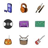 Listening music icons set, cartoon style. Listening music icons set. Cartoon illustration of 9 listening music vector icons for web Stock Image