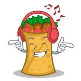 Listening music kebab wrap character cartoon. Vector illustration stock illustration