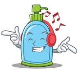 Listening music liquid soap character cartoon. Vector illustration Stock Photos