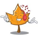 Listening music maple character cartoon style vector illustration