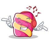 Listening music marshmallow character cartoon style. Vector illustartion Royalty Free Stock Image