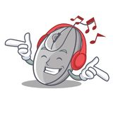 Listening music mouse mascot cartoon style Royalty Free Stock Image