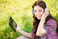 Listening Music in the Nature Royalty Free Stock Photo