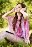 Listening Music in the Nature Stock Image
