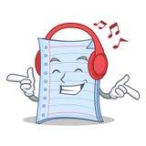 Listening music notebook character cartoon design. Vector illustration Royalty Free Stock Photography