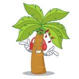 Listening music palm tree character cartoon. Vector illustration Stock Image