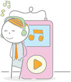 Listening Music Player. Doodle illustration of businessman listening to music player Royalty Free Stock Images