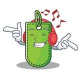 Listening music price tag mascot cartoon Royalty Free Stock Photo