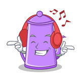 Listening music purple teapot character cartoon. Vector illustration Royalty Free Stock Photos