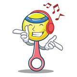 Listening music rattle toy mascot cartoon Stock Images